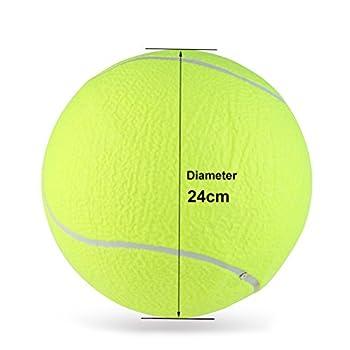 UEETEK Boule de balle de tennis de chien de 9,5 pouces Boule de sport de sport de tennis géante pour gros jouets pour animaux de compagnie