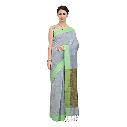 The Weave Traveller Handloom Khadi With Ghicha Pallu Saree With Blouse