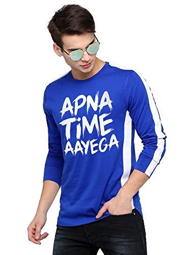 Maniac Stripes Men's Fullsleeve Printed Round Neck Blue Color Cotton Apna Time Aayega Tshirt