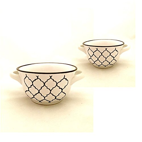 Crock Pot vajilla sopa cuencos cerámica blanco negro