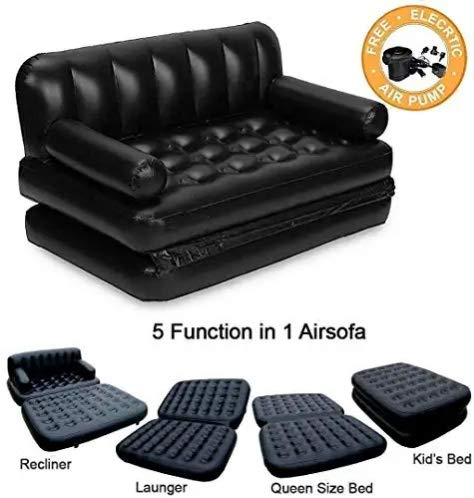 India Air Sofa Bed 5 in 1 Inflatable Couch with Electric Pump (Black)