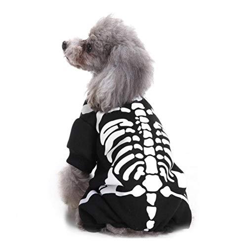 Kostüm Funny Puppy - LCWYP Haustier Halloween Haustier Hund Kostüme Halloween Schädel Geist Hund Kleidung 4 Beine Hund Overall Winter Haustier Hund Mantel Kostüm Funny Puppy Clothing