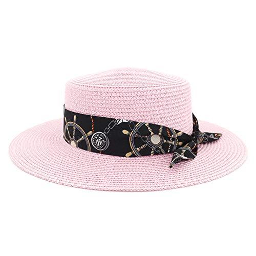 HGYIO Frühlings- und Sommermädchenstrohhut, rosa Küstenlichtschutz-Strandhut, weibliche Lebenkappe der Reise im Freien,pink