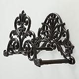 Home Collection Eleganter Metall Schlauchhalter Wandhalter braun L27cm