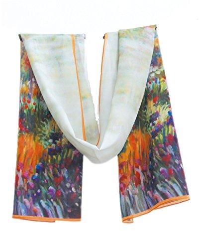 Prettystern P140 - pittura 160 centimetri Impression sciarpa di seta stampa d'arte - Monet - Blooming Iris in giardino di Giverny / Il Giardino dell'Iris a
