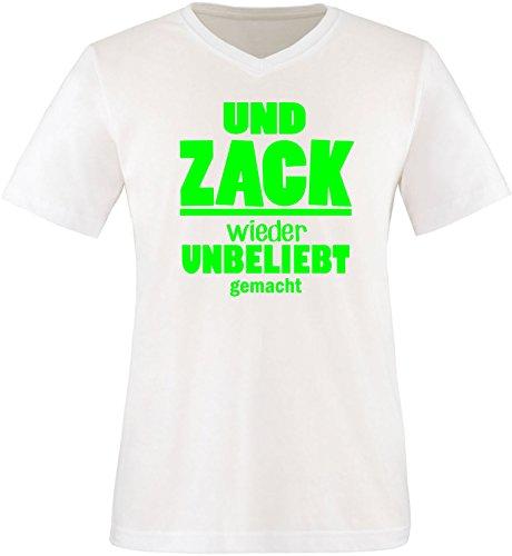 EZYshirt® Und Zack ! Wieder unbeliebt gemacht Herren V-Neck T-Shirt Weiss/Neongruen