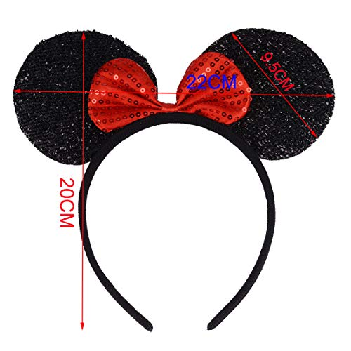 12 Pcs Fascia per Topolino Rosso e Nero Topolino Minnie Mouse Fascia Club dei Cartoni Animati Utilizzata per Mascherata Festa di Compleanno Festa Notturna