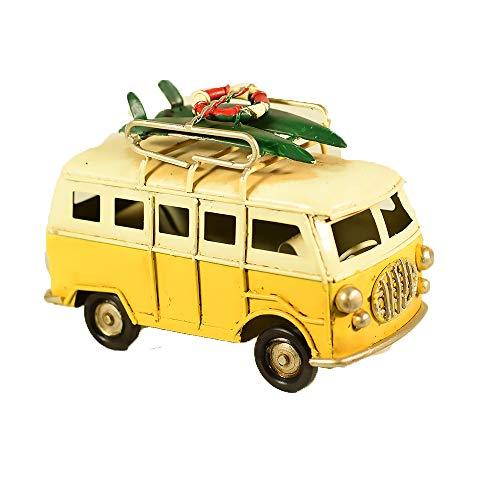 Retro-van (UniqueGift Mini-Figur im Retro-Look, Gelb, Modell: Strandvan - Camper Van Miniatur - Retro Chic Shabby Van - Klassischer Van)