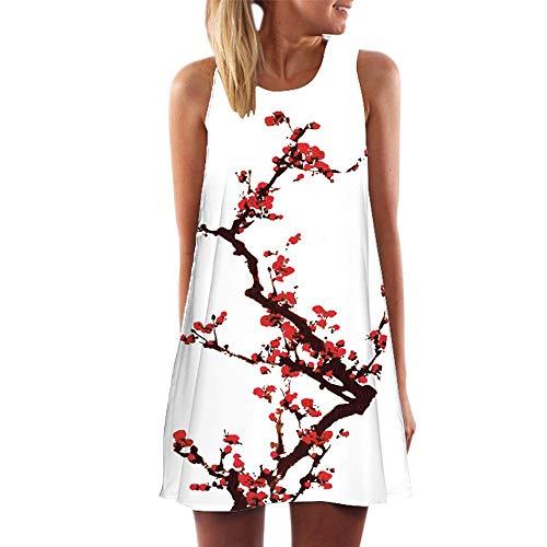 Yvelands Vintage Boho T-Shirt Kleider Minikleid Frauen Sommer ärmellose Strand gedruckt kurzes (white5,EU-34/S)