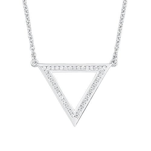 s.Oliver Damen-Kette mit Anhänger Dreieck Geometrie 925 Silber rhodiniert Zirkonia weiß 45 cm-2012498
