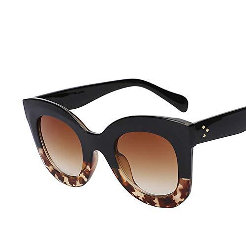 Zbertx Mode Weiblichen Niet Großen Rahmen Stil Sonnenbrille Frauen Designer Sonnenbrille,Black Leopard Brown