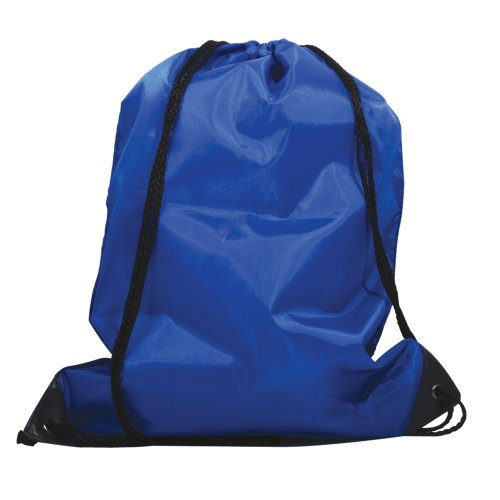 5 x Nylon Drawstring Rucksacks With Reinforced Corners - Kids School Sports Gym Book Swim Bags (Blue)