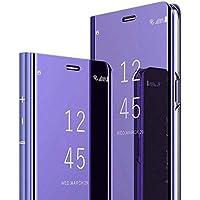 Robinsoni Funda Compatible con Samsung Galaxy A10S Funda Cartera Funda Vista Clara Espejo Carcasa Cuero Libro Cover TPU de Silicona Carcasa Claro Cuaderno Funda Espejo Funda Billetera Funda Púrpura