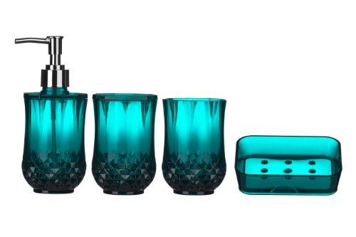 premier housewares cristallo bathroom set blue 4 pieces