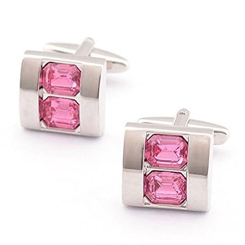 PIXNOR Men Shirt Cufflinks Men Sleeves Buttons - Crystal Style (Pink)
