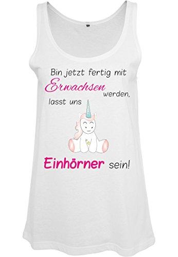 Ladies Damen Top Tanktop Sommertop Damentop Unicorn Einhorn cutie Bin jetzt  fertig mit Erwachsen werden Weiß