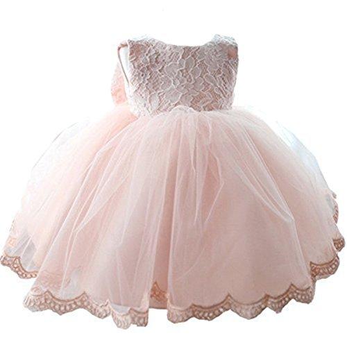 NNJXD Mädchen Tüll Blume Prinzessin Hochzeitskleid für Kleinkind und Baby Größe(18) 12-18 Monate Rosa