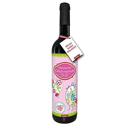 Wein-Herzlichen-Glckwunsch-Schn-dass-es-dich-gibt-trockener-Rotwein-aus-Spanien100-Tempranillo-Valdepenas-2015-GEBURTSTAG-STEINBECK-Geschenk-Mitgebsel-Geburtstag-Freundin-Schwester-Frau-Blumen