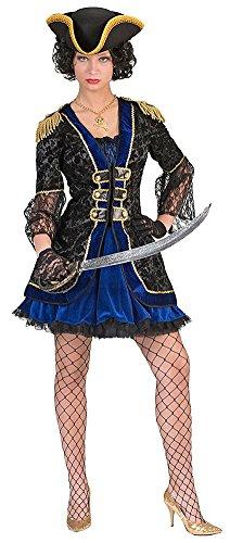 ra Größe 40/42 / Piratenkostüm Damen Kleid Spitze Blau Schwarz Gold Seeräuberin Karneval Fasching Pierro's (1 Was 2 Was Kostüme)