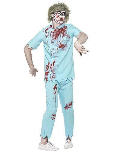 costumebakery - Herren Männer Kostüm Zombie Zahnarzt Arzt mit Hose Shirt Maske und Latex Zähnen, Horror Dentist Doctor, perfekt für Halloween Karneval und Fasching, L, Mehrfarbig