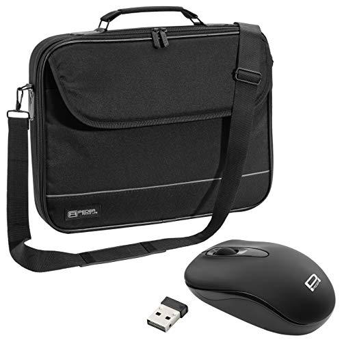 """PEDEA Laptoptasche """"Fair"""" Notebook-Tasche bis 17,3 Zoll (43,9 cm) Umhängetasche mit Schultergurt inkl. Schnurloser Maus, Schwarz"""
