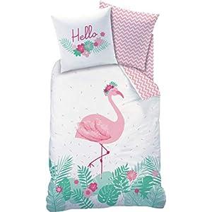 CTI Biber/Flanell Bettwäsche-Set Flamingo · Hello · Trendiger Flamingo Vogel/Tropical Blumen · Wende Motiv · rosa türkis - Kissenbezug 80x80 + Bettbezug 135x200 cm - 100% Baumwolle