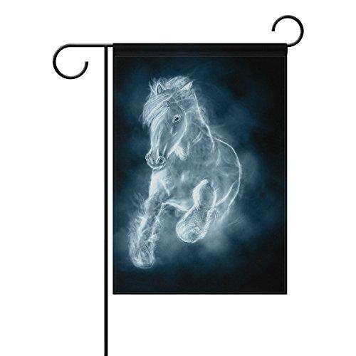 jstel Home White Horse Running Polyester-Wolken-Garten Flaggen Lovely und Schimmelresistent Custom von Wasserdicht 30,5x 45,7cm