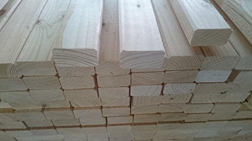 Naturbelassenes Holz 10 Stück B/C - Ware KVH Rahmenholz 24mm x 44mm x 2000mm Fichte 1,89€/Lfm Leisten gehobelt gefast Gartenzaun Zaun Kleintiergehege