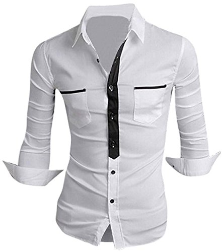 jeansian Hommes Chemise Casual Slim Fit Trend Fashion Mens Shirt 8514 white