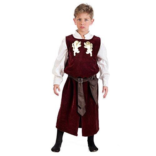 Boy Halloween Renaissance Renaissance Kostüm (Mittelalterlicher Knappe Kostüm Kinder Gehrock mit Hemd rot - 3/5)