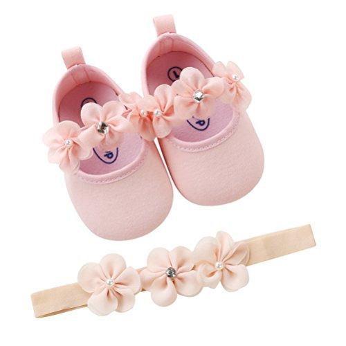 EDOTON 2 Pcs Kleinkind Schuhe+ Stirnband, Baby Mädchen Blumen Schuh Anti-Rutsch-Weiche Besondere Anlässe Taufe Hochzeit Party Schuhe (0-6 Monate, Rosa)