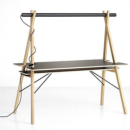 AA DESK : un espace de travail étudié pour vous simplifier la vie. Et en plus, c'est beau ! - Plateau: linoléum noir. Pieds: chêne blanchi. faisceau Plateau: bois massif teinté noir, avec lumière LED intégrée.
