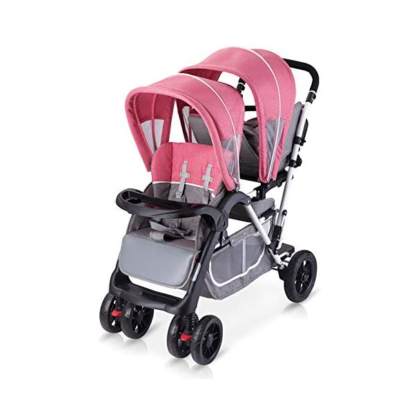 Baby Strollers Double Pushchair Twins Tandem Pushchairs, Reversible Seat Convertible Front And Rear Seats Lightweight with Convertible Bassinet Stroller Extended Canopy/Large Storage Basket,Pink MYRCLMY ♥TWIN STROLLER: Getting everywhere with two little ones has never been easier, thanks to the Double Strollers; you can glide around town even when you only have one hand free to steer; you can even roll through a standard size doorway. ♥ADJUSTABLE BACKREST & CONNECTABLE SEATS :The backrest can adjust to fit baby's sleep posture to keep comfortable sleeping. Two seats can be connected to lengthen the seat. ♥SAFETY WHEELS & 5-POINT SAFETY BELTS:The springs in front wheels absorb shocks for easy to control direction and safety. The 5-point safety belt is equipped with each seat to ensure security while keeping your baby fit to the safety belt to feel comfortable. 38