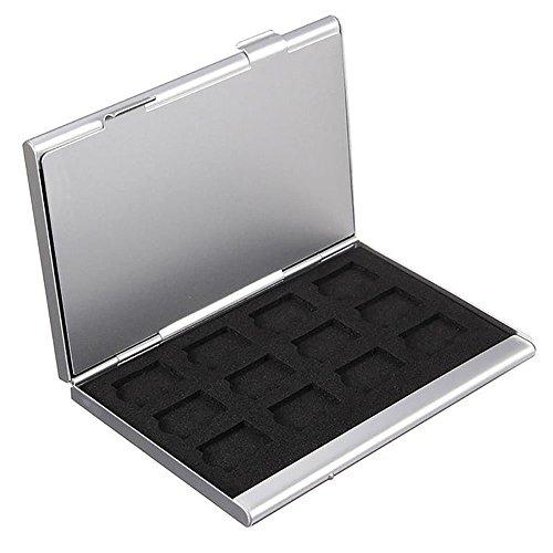 Distinct argento double layer alluminio 24 micro sd tf scheda di memoria di archiviazione custodia titolare protector
