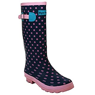A&H Footwear Ladies Womens New Waterproof Rubber Festival Rain Mud Snow Girls Wellington Boots Wellies Sizes UK 3-8 (UK 7, Pink Spots)