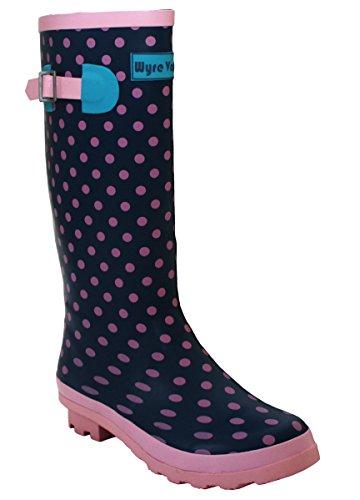 A&H Footwear Mädchen Damen Arbeits-Gummistiefel, Rosa Gepunktet - Größe: 42