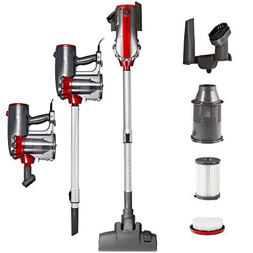 Balter Vento H2 Zyklon-Staubsauger ✓ Teleskopstange ✓ 600W Saugleistung ✓ Beutellos ✓inkl. Wandhalterung und Zubehör ✓ HEPA-Filter ✓ Handstaubsauger (Rot/Silver)