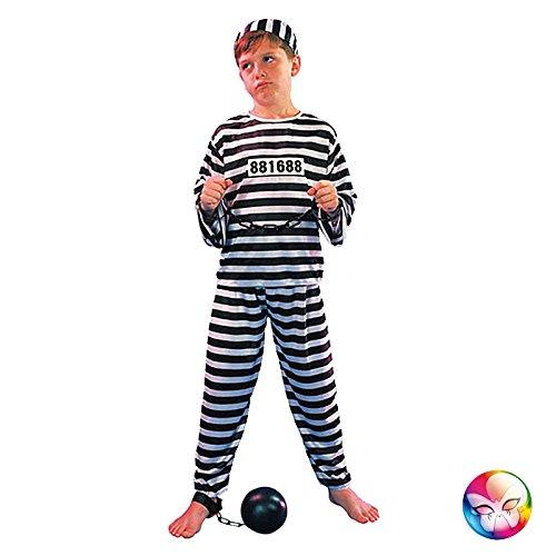 Aptafêtes–cs886222/L–Disfraz de prisionero de los niños–tamaño 10/12años, negro/blanco