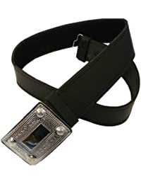 Tartanista - Cinturón para kilt escocés con hebilla para hombre - Negro - XL (114cm - 127cm)