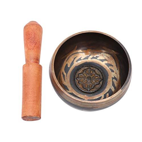 LIOOBO Tibetische Klangschalen-Set Meditationsschale mit Schlägel Zur Energieheilung Achtsamkeitsmassage Zen-Meditation 8 5Cm