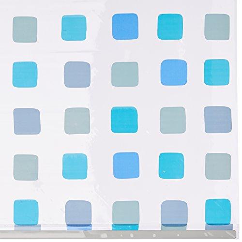 Duschrollo für Kleine Wolke-Leerkassette, 128 x 240 cm, Quadrat-Muster blau - 2