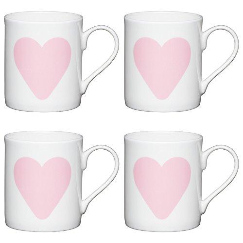 Kitchen Craft feines Big Heart 'Kinder Kleine Bedruckte Tassen, 250ml (Set von 4), Bone China Porzellan, weiß/pink, 10,5x 7,5x 8,5cm (Bone China Mini)