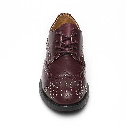 Derbies De Similicuir Shoes Bordeaux En Ideal Incrustées Tania Clous qUwIff