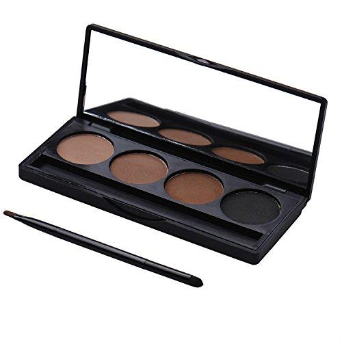4 couleurs cosnetic de poudre sourcils de palettes de sourcils avec pinceau et miroir de maquillage Set Kit