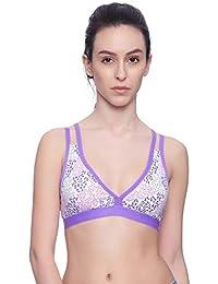 79b6821753 Brag Plunge Neck Cage Back Purple T-Shirt Bralette Bra for Girls Women