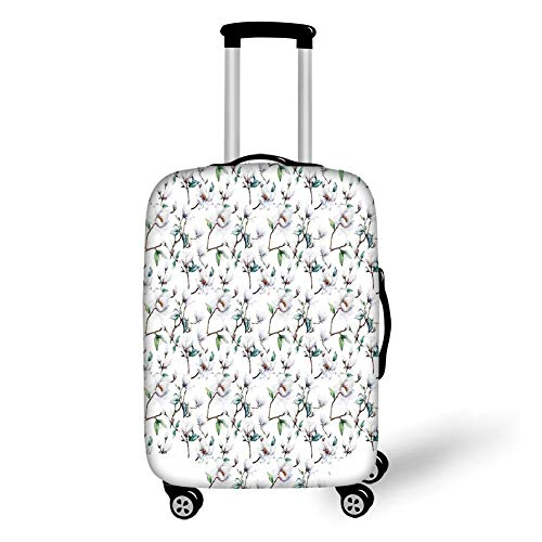 Travel Luggage Cover Suitcase Protector,Flower Decor,Flower Garden in Nature with Leaves Royal Mallows in Spring Art Print,White and Green,for Travel XL - Cherry Flower Stand