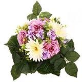 Rosen-Gerbera Strauß - Crémefarben/Rosa/Lavendelfarben/Dunkelgrün (künstlich)