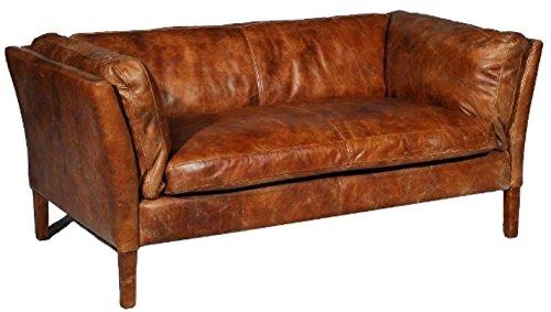 Casa Padrino Luxus Sofa Vintage Braun 182 x 83 x H. 70 cm - Echtleder Möbel