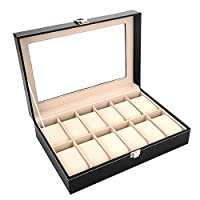 Men's jewelry box High-grade 12 Compartment wood watch box organizer case black