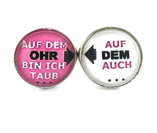 """Spruch Ohrstecker 12mm silber-farben\"""" Auf dem Ohr bin ich taub, auf dem auch\"""""""